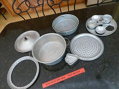 Wearever # 298 Wear-ever Pots Cooking Camping 21 aluminum pieces Poaching eggs