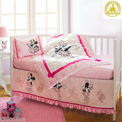 MINNIE MOUSE Disney 4 Pc Baby Girl Cot Bedding Set Quilt Fitted Sheets GENUINE