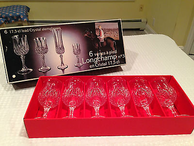 VINTAGE New! SET of 6 LONGCHAMP No. 3 Crystal Wine Glasses by CRISTAL D'ARQUES