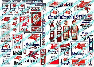 O Scale Mobil Garage, Model Railway Signs - OM2 - 60 Signs