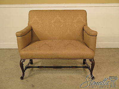 22937E: English Queen Anne Style Newly Upholstered Loveseat Settee
