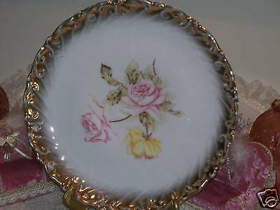 """VINTAGE DRESDEN GERMANY 103/4"""" PLATE CHARGER PINK YELLOW ROSES Sponge Gold Edge"""