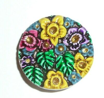 """Cheery & Colorful Art Stone Flower Floral Shank Button  1-1/8"""""""