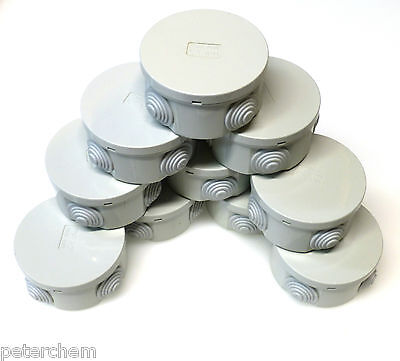 10x small round electric junction box & grommets waterproof IP44 80 x 40mm RO80