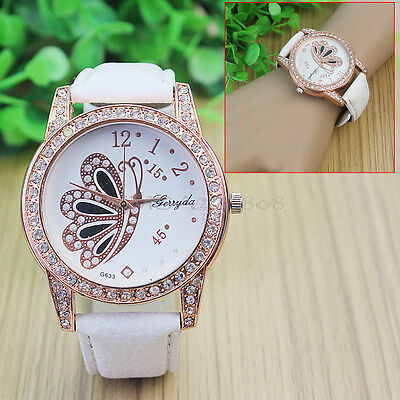 Cute Butterfly Pattern Rhinestone White Band Quartz Wristwatch For Women Girls