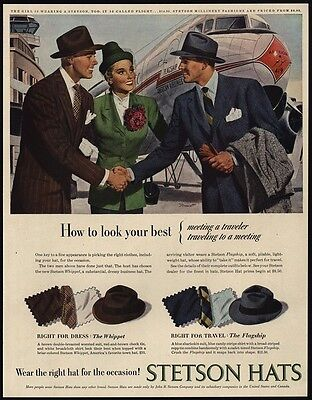 1947 STETSON Hats - Men & Woman - AMERICAN AIRLINES Flagship Airplane VINTAGE AD