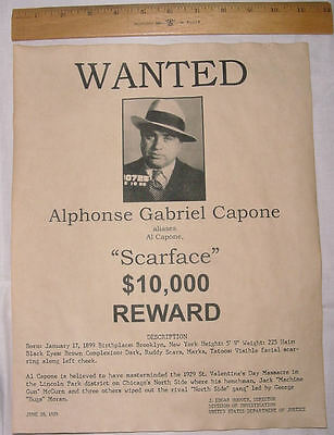 MEYER LANSKY AL CAPONE SCARFACE WANTED POSTER 8X10 PHOTO MOBSTER MAFIA GANGSTER