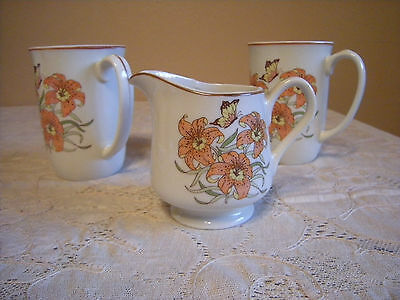JAPAN FINE CHINA DRAGON LILY & BUTTERFLY DESIGN COFFEE MUGS AND CREAMER