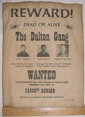 BIG 11 x 14 Dalton Gang Wanted Poster, old west, western, outlaw, bank robbers