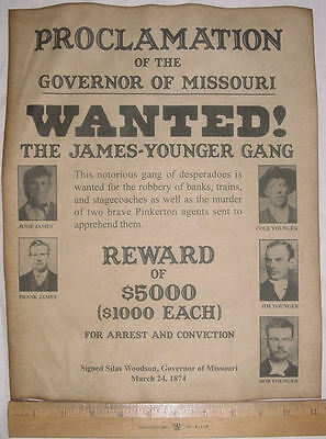 BIG 11 x 14 James-Younger Gang Wanted Poster, old west, western, outlaws, jesse