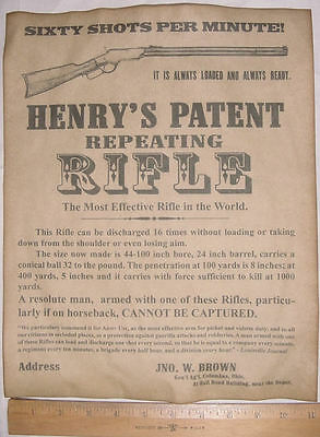 BIG 11 x 14 Henry Rifle Ad Poster, repro, old west, wanted, advertisement