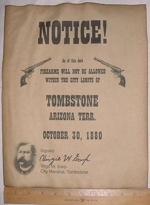 BIG 11 x 14 No Firearms in Tombstone Notice Poster, guns old west western wanted