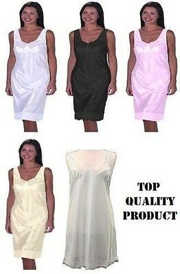 Ladies Full length slip petticoat underskirt size 12-32 various colours
