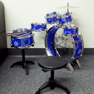 Toys Children Blue Drum Boy Girl Music 11 pc Drum Set with Stool Kids Play Blue