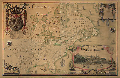 1688 Map, Quebec CANADA, detail, French, Quality print, 22x15, antique N America