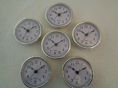 "6 PAK, 2-1/2"" (65mm) QUARTZ CLOCK FIT-UP/Insert,Silver Trim,Arabic Numeral,White"