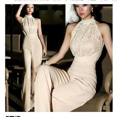 Women's Sleeveless Sexy Lace Jumpsuit Career OL High Waist Wide Leg Long Pants