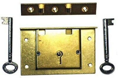 S-7E Brass Chest Lock W/ 2 Keys, Strong Box Or Replacement On Old Hope Chests