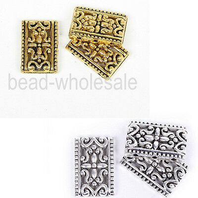Nice  Antique Silver&Golden Tibetan Silver 3-3 Hole Oblong Loose Spacer Beads,q