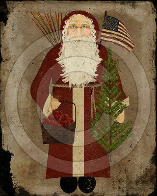 Primitive Americana Santa Claus Christmas Folk Art Print PRINT ONLY 8x10