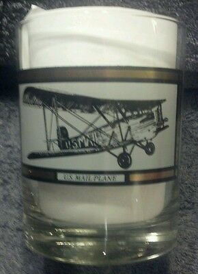 US MAIL PLANE HEAVY BOTTOM LARGE ROCKS COCKTAIL GLASS USPS POST OFFICE COLLECT