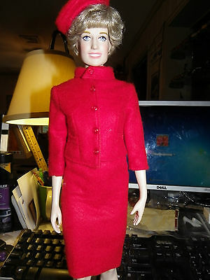 Franklin Mint Jackie Doll Red Wool Suit  Jacket , skirt & Hat  looks great on Di
