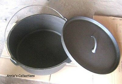 Dutch oven Large Roaster 24 QT Cast Iron Survival Cowboy Camping Flat Bottom