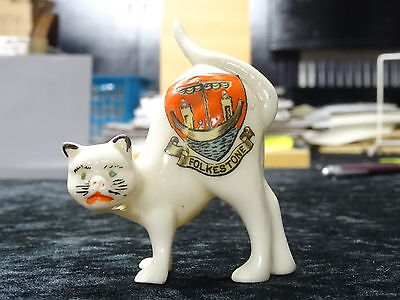 China model of a cat with Folkestone crest