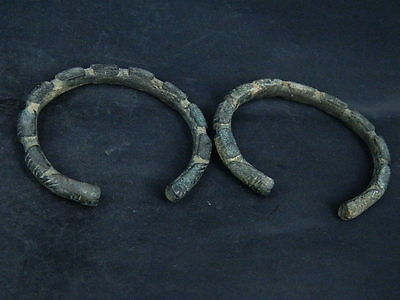 Ancient Bronze Pair Of Bracelets Islamic 1200 AD