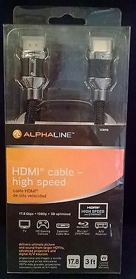 NEW Alphaline HDMI Cable 3 ft foot Ultra High Speed Premium 17.8 Gbps 10898 3ft