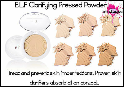 E.L.F ELF Flawless Clarifying Pressed Powder Oil Shine Control Salicylic Acid 1%