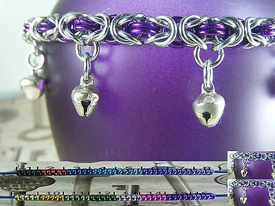 Byzantine BDSM Gorean Slave Dancing Bell Anklet Silver Toned Asst. Accents