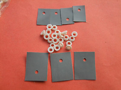 100+100 pcs TO-220 Silicone Rubber Pad Insulation Chip + M3 insulation tablets