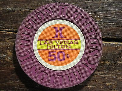 1ST ISSue Las Vegas Hilton 50 Cent Casino Chip Uncirculated