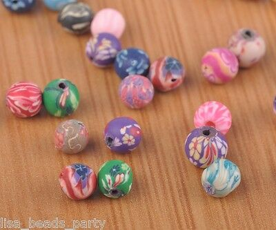 50pcs 8mm Round Clay Jewelry Finding Charms Loose Spacer Beads Mixed Colors New