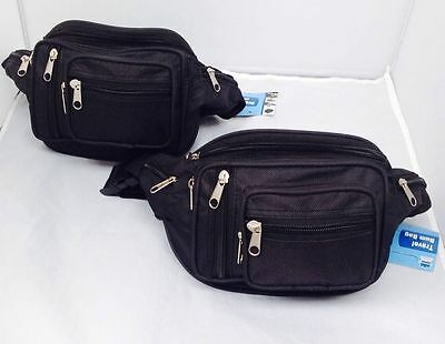 2x Travel Waist Pouch Bum Bags With 8 Pockets Travel Bag Black