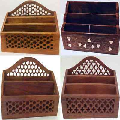 Handmade Wooden Letter Rack Fretwork Shabby Chic Desk Tidy Post Organiser Gift