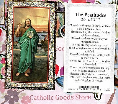 Jesus - front- The Beatitudes - back  - gold trim - Paperstock Holy Card