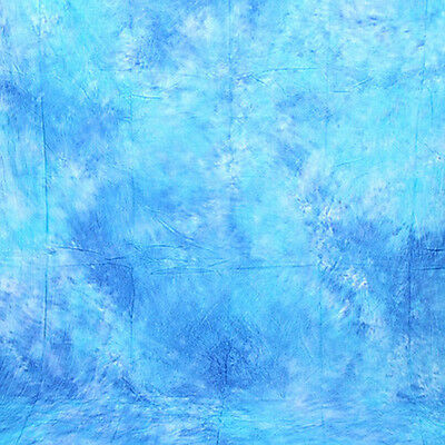 6X9Ft Seamless Hand Painted Muslin Backdrop Blue Photography Studio Background