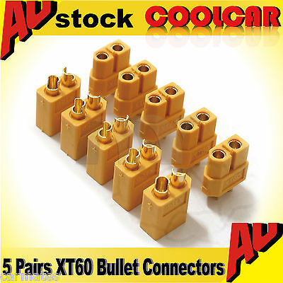 hot 5 Pairs XT60 Male/Female Bullet Connector Plug For RC toy car Lipo battery