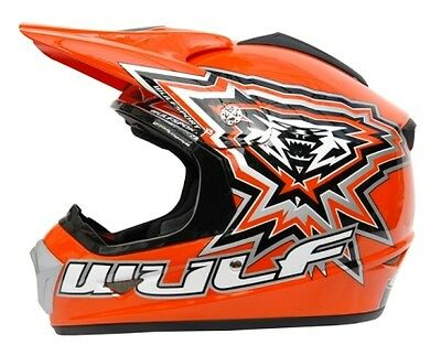 Kids Childrens Quad Wulf Wulfsport MX Motorcross Crossflite Helmet Orange Sale T