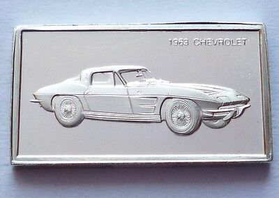 Classic Cars Chevrolet 1963 Silver Proof Ingot Made from Franklin Mint !