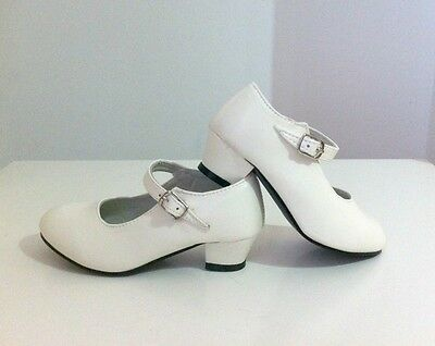 Zapatos de flamenca niña blancos / Flamenco Shoes Spanish dance girl, high heels