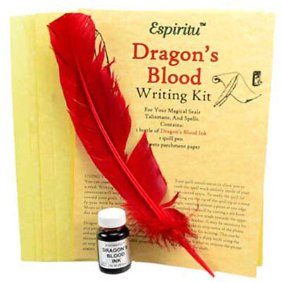 NEW Dragon's Blood Spell Writing Kit w/ Parchment, Ink, and Feather in Package