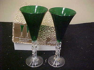 Cristal D'Arques Noel Toasting Goblets Green PAIR Boxed