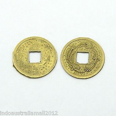 20 X Chinese Fortune Coins/I Ching/Double Dragon 19mm +Velvet Pouch(K065)
