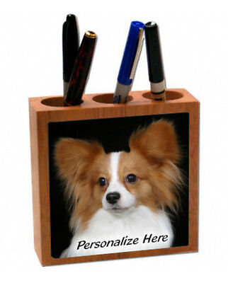 Papillion    tan and white color   ( 16 )   Personalized  Pencil and Pen Holder