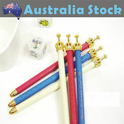 NEW Luxury Metal Crown with Pearl Ball Pen Stationery