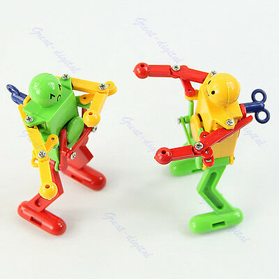 Yellow Red Green Clockwork Spring Wind Up Dancing Robot Toy Children Kids Gift
