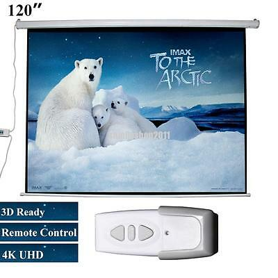 """120"""" inch Electric Remote Motorised Home Cinema Projector Screen Electric 16:9"""